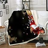 LIFUQING DIY Gedruckt Frohe Weihnachten Decke 3D Print Erwachsene Kinder Wolle Fleece Tragbare Decke Flanell Weihnachten Bademantel-150x200cm