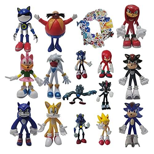 Figura Sonic A Set de nueve figuras grandes + un juego de seis figuras pequeñas Super Sonic erizo supersonic Mouse Sonic Kid Toy Decoración de coche Figura de muñeca Figura de escritorio