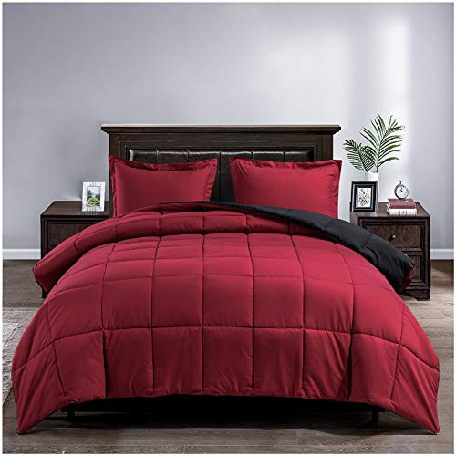 Satisomnia Lightweight Down Alternative Comforter Set Queen Reversible All Season Quilted Bed Comforters Set Duvet Insert 3 Piece-1 Comforter 2 Pillow Sham Full / Queen Size Red / Black 90x90 Inch