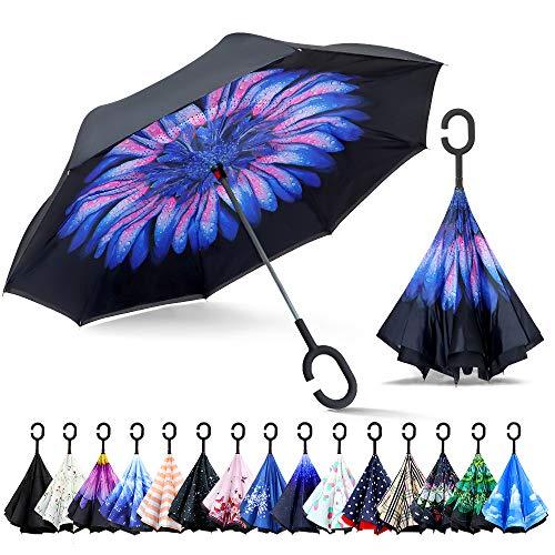 ZOMAKE Inverted Stockschirme, Innovative Schirme Double Layer, Winddicht Regenschirm, Freie Hand,Umgedrehter Regenschirm mit C Griff für Auto Outdoor (Verschwendet)
