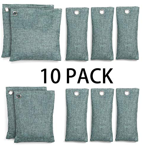 Bamboo Charcoal Air Purifying Bag,Natural Deodorizer Bags for Large Room,Smell and Moisture Absorber for Closet,Fridge,Drawer,Kitchen,Living Room,Basement,Green,10 Pack【75g×6 & 100g×2 & 200g×2】