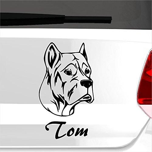 malango® Autoaufkleber Spanischer Alano Hund Wunschname Autosticker Hunderasse Tier Tierwelt Aufkleber Sticker ca. 11 x 20 cm gold