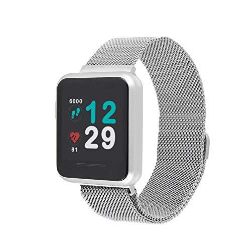X-WATCH 54043 KETO SUN REFLECT Smart Watch, Fitness Tracker, Pulsmesser, IP68 wasserdicht, Akku bis 20 Tage, Android & iOS - SHINY SILVER