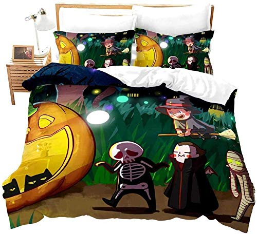 PTBDWOSZ Duvet Cover Double Halloween Pumpkin Ghost Mummy 3 Pieces Printed Bedding Set with Zipper Closure ComfortSoft Microfiber Quilt Cover Set for Adults Teens Boy Girl Bedding