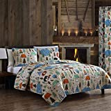 3-Piece Full/Queen Quilt Oversized Coverlet Bedding Set with Shams Camping Outdoors Park Ranger Compass Tents, Tan Blue Red