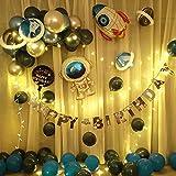 Conjunto de globos bebé un año de edad niños espacio tema cumpleaños diseño fiesta globo paquete niño bebé un año fondo pared escena decoración con luces-Paquete de un año