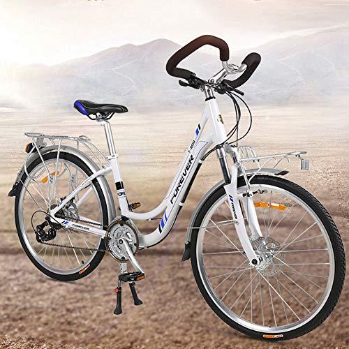 Bicicleta De 26 Pulgadas Crucero Híbrido De Estilo Retro Para Hombres Y Mujeres, Opción De Cuadro Step-Over O Step-Through, Manija Butterfly Bicicleta De Carretera De Larga Distancia De 27 Velocidades
