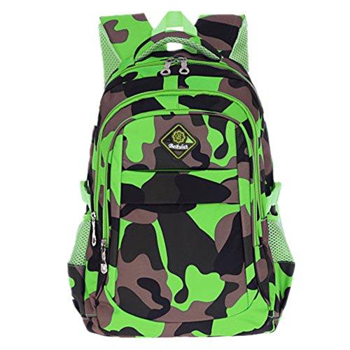 Bom Bom Jungen Camouflage Schultasche Outdoor Freizeit Daypack (Tarnung-grün)