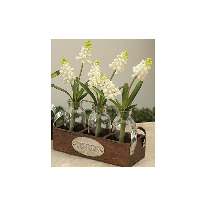 silk flower arrangements one holiday way set of 3 artificial hyacinth flowers in glass bottles with wooden basket – indoor tabletop decoration (white)
