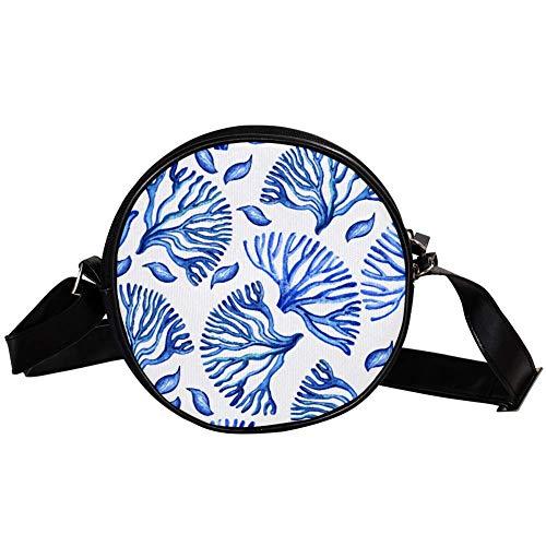 Bennigiry - Bolso bandolera redondo de color azul coral para adolescentes y mujeres
