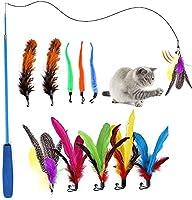 インタラクティブな猫のおもちゃ-猫の羽のおもちゃ-インタラクティブな猫のおもちゃのワームのおもちゃの鐘のための11個のペットの羽猫のおもちゃ-猫のおもちゃインタラクティブな猫の杖-猫の杖のおもちゃの交換猫のティーザーのおもちゃ
