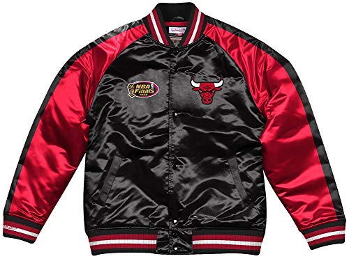 Mitchell & Ness Chicago Bulls NBA Color Blocked Satin Jacket Jacke Anorak Windbreaker