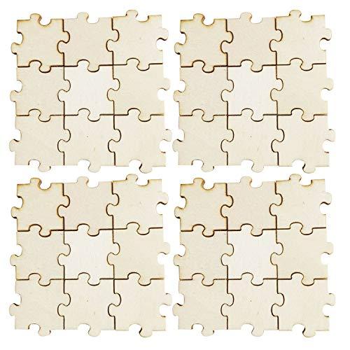 50PCS 40mm piezas de Puzzle en blanco de madera para DIY proyectos de arte bodas baby showers niños cumpleaños escuela actividades aula