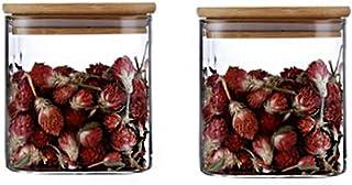 Annfly Lot de 2 bocaux hermétiques en verre avec couvercle en bambou - Design moderne - Transparent - 500 ml