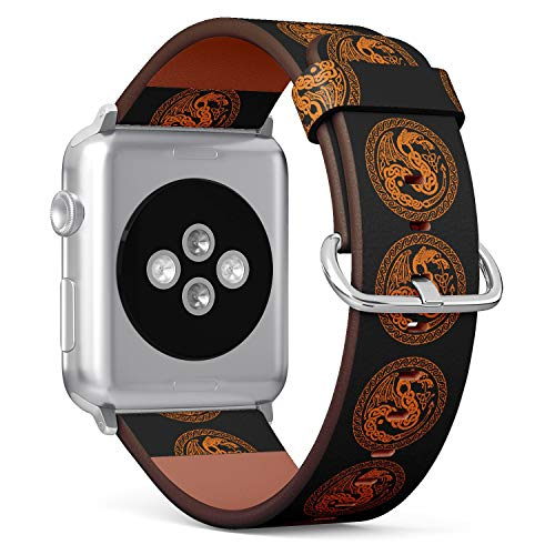 (Celtic Dragon with National Ornament Interlaced Tape) Patterned Leather Wristband Strap for Apple Watch Series 4/3/2/1 gen,Replacement for iWatch 42mm / 44mm Bands