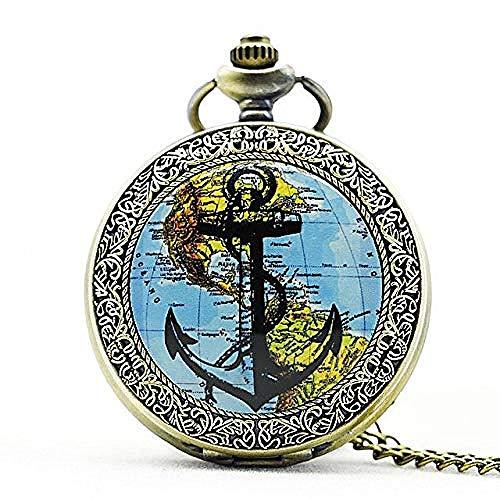 BACKZY MXJP Collar Reloj De Bolsillo De Cuarzo con Mapa De Plata De Moda De América Y Anclas, Collar con Colgante Analógico, Relojes para Hombre Y Mujer, Regalo