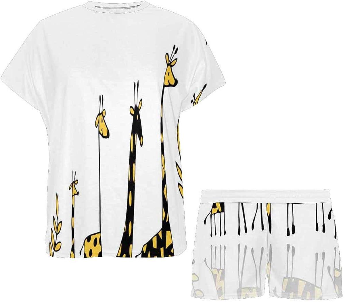 InterestPrint Giraffes Family Sketch Women's Pajamas Short Sets Round Neck Short Sleeve Sleepwear