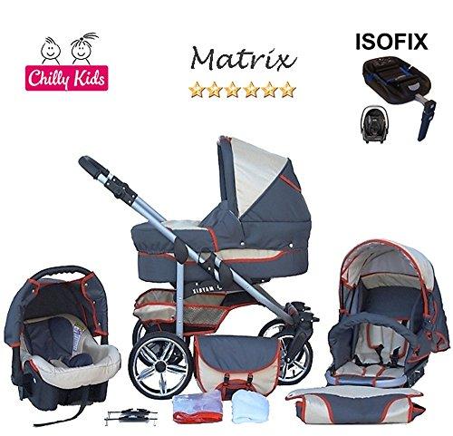 Chilly Kids Matrix 2 poussette combinée Set – hiver (chancelière, siège auto & ISOFIX, habillage pluie, moustiquaire, roues pivotantes) 08 graphite & crème