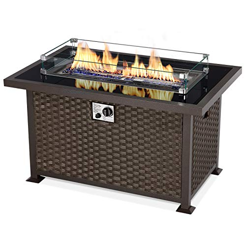 U-MAX 44in Outdoor Propane Gas Fire Pit Table, 50,000 BTU...