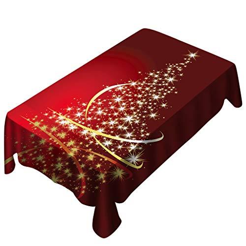 PRETTYEST Nappe de Noël Couverture De Table Nappe Motif Sapin Rouge Nappe de Noël Forêt Magique Elfes et Lutins Nappe en Feuille d'érable rectangulaire pour la décoration