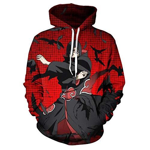 yibuf Anime Naruto 3D Hoodie Uchiha Sasuke Akatsuki Cosplay Sweatshirt Reißverschluss Jacke Mantel Pullover Trainingsanzug Männer Frauen-04_L