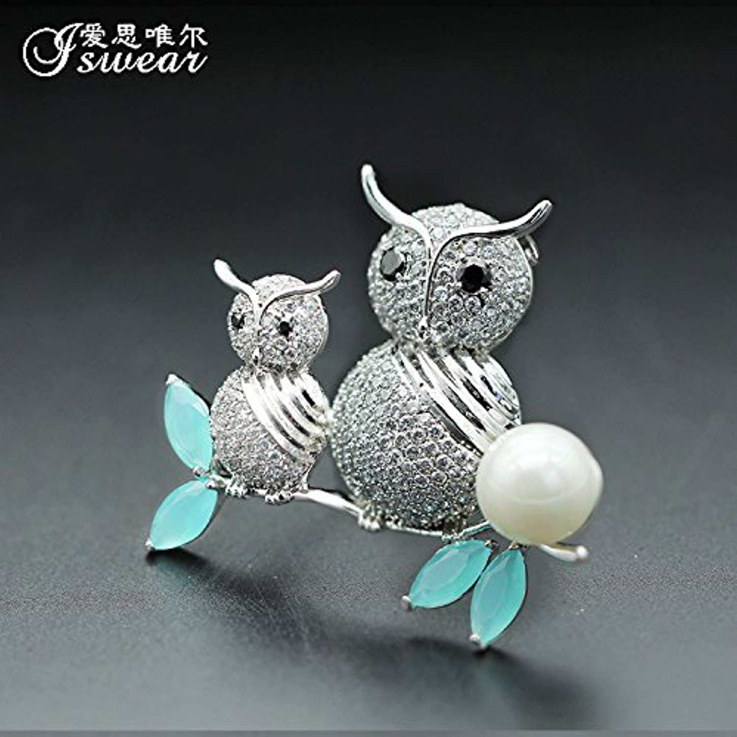 Korea Over Drilling Cute owl Fashion Pearl Brooch pin Badge Large Clothing Accessories Sweet Little Cardigan Crystals do not Move