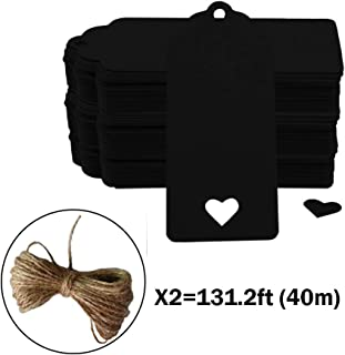CRIVERS 200pc Hollow Heart Shape Kraft Paper Tags, CRIVERS Gift Tags/Hang Tags with Free Natural Jute Twine for Christmas Wedding Thanksgiving Birthday Holiday Party Favors (Black)