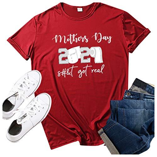 Janly Clearance Sale Blusa para mujer, con estampado del día de la madre, cuello redondo, manga corta, para Pascua, San Patricio, bonito regalo (vino-3XL)