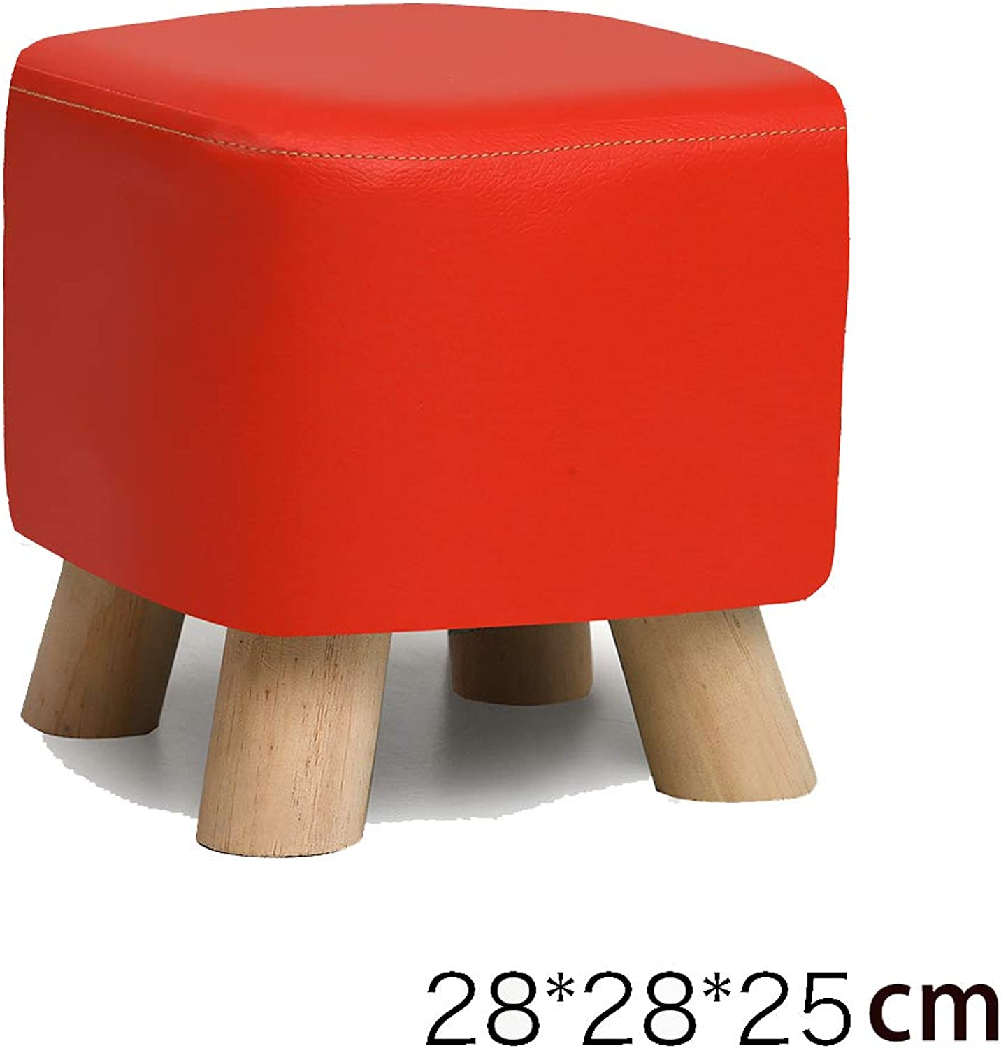 Square Stool, Padded Footstool, Home Pu Cover, 4 Legs and Detachable Linen Cover   28  28  25Cm   Pine (Red)