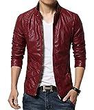 MOGU Mens Zip Closure Slim Fit PU Leather Jacket US Size 30(Asian Labelb L) Red
