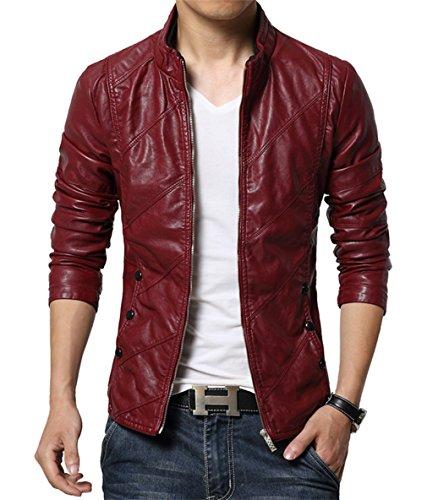 MOGU Mens Zip Closure Slim Fit PU Leather Jacket US Size 42(Asian Labelb 6XL) Red