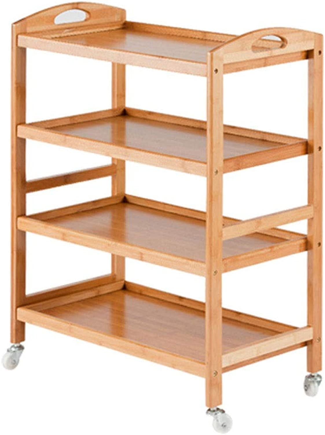 Shelf Trolley 3 4 Layers Solid Wooden Trolley Dining Shelf Trolley Household Tea cart Meal Sidecar Multi-Function Kitchen Trolley (color   Wood color, Size   4 Layers)