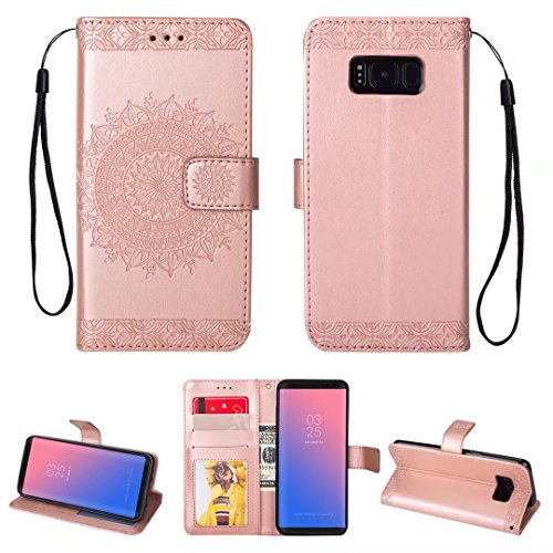 iPhone 5/5S/5SE hoesje PU lederen portemonnee reliëf Mandala bloem standaard Flip case credit card slot beschikt over beschermende DECHYI case, Portemonneehouder, Rosegoud, Samsung Galaxy S8