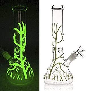 HUAPI 10.6 Inch Glass Smoking Pipe Crafts Tree Vines Glow in The Dark (White)