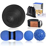 New 5inch Massage Ball Kit for Deep Tissue Massage & Trigger Point Release-Set of 5-Great for Muscle Recovery, Physical Therapy, Plantar Fasciitis Relief-Carrying Bag & Exercise Guide Included
