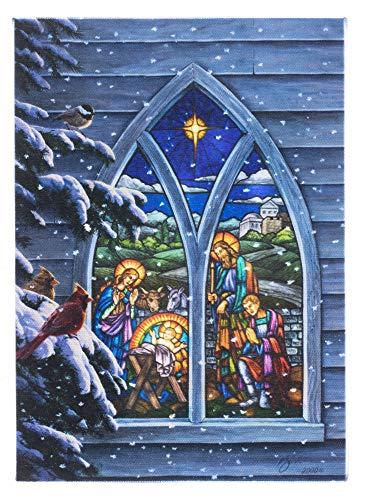 Oak Street Christmas Winter Scenes LED Art Canvas Light up Pictures (17'x14', Nativity Church Window OSW208496)