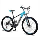 Bicicleta de montaña Totalmente de Aluminio, Bicicleta de montaña de Velocidad Variable, Bicicleta con Freno de Disco Bicicleta para Adultos de 21/24/27 velocidades, Bicicleta con Doble suspensión y