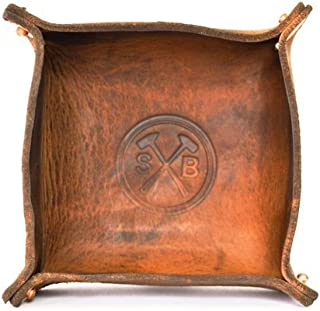 Sturdy Brothers All Leather Catch All Bowl - Decorative Dish for Keys, Coins, Jewelry, Change - Bedside Valet Tray - Waxed Natural