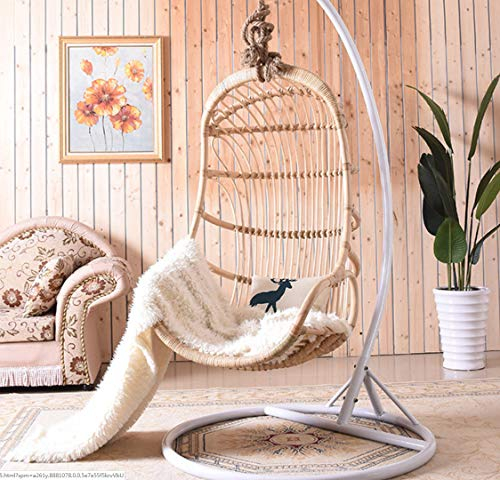 Gtbanv Nordic net red ins hanging basket Bali bed and breakfast rattan hanging chair home balcony garden indoor real rattan swing chair 76 * 118 2