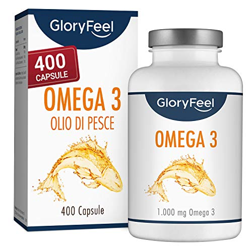 Omega 3 Olio di Pesce 2000mg per 2 Capsule, 400 Capsule Softgel di Omega-3 (Scorta 1 anno+), 180mg EPA & 120mg DHA, Acidi Grassi Essenziali Omega3