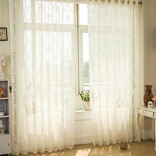 Met Love Blanc Warp Tricot Fenêtre Tissu Tissu Art Salon Chambre Studio Dédié Balcon Baie Fenêtre 2 Panneaux (taille : L:1.5*H:2.7m)