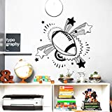 JXGG 63x56 cm Creative Sticker Ballon Rugby Sport Décor Nursery Boy Room Vinyle Amovible Sticker Mural Décor À La Maison Art Papier Peint