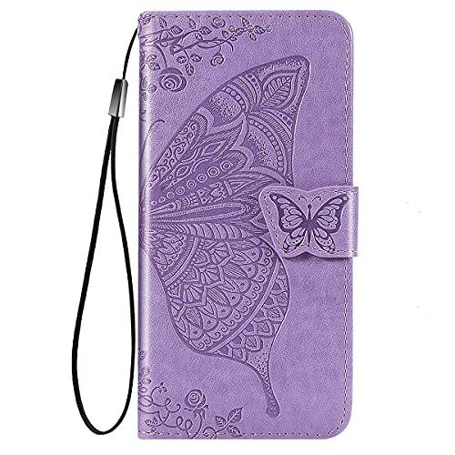 YIKLA Funda para Samsung Galaxy A22 4G, Mariposa Folio PU/TPU Cuero Wallet Case, Diseño con Ranuras para Tarjetas, Cierre Magnético, Premium Flip Wallet Cover, Púrpura Claro