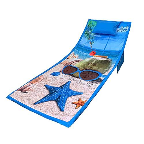 Nada Home 4215 - Toalla de playa de microfibra con elásticos, bolsillos y cojín inflable