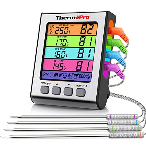 ThermoPro TP17H Meat Thermometer for Grilling and Smoking with 4 Temperature Probes for Beef Turkey Candy Deep Fry BBQ Gill Cooking Food Thermometer