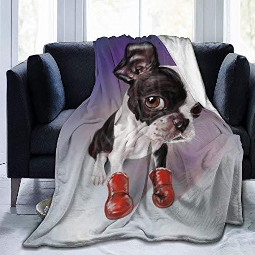 KENDIA Boxing Boston Terrier Manta de Franela Ultra Suave Antipilling Peluche Ligero Acogedor para el sofá Cama Sofá Campamento