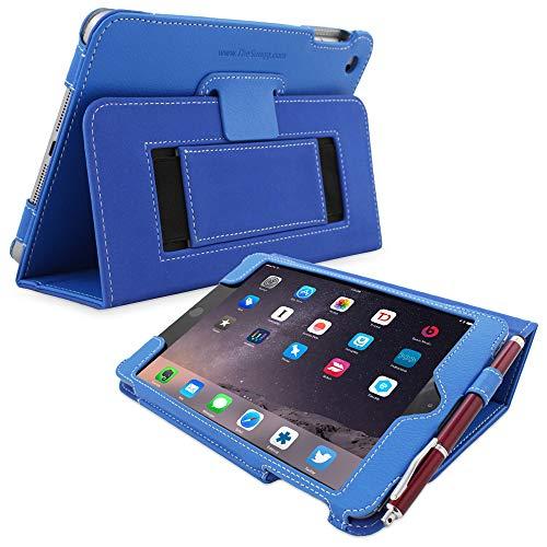 Snugg iPad Mini 1 (2012) / 2 (2013) / 3 (2014) Leather Case, Flip Stand Cover - Electric Blue