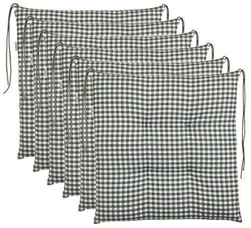 Brandsseller Cojín de asiento para silla a cuadros, cojín para el jardín, 40 x 40 cm, color antracita, gris claro, marrón, beige (paquete de 6 unidades), color verde
