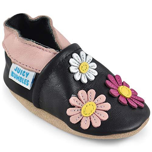 Juicy Bumbles - Weicher Leder Lauflernschuhe Krabbelschuhe Babyhausschuhe mit Wildledersohlen. Junge Mädchen Kleinkind- Gr. 6-12 Monate (Größe 20/21)- Blumen