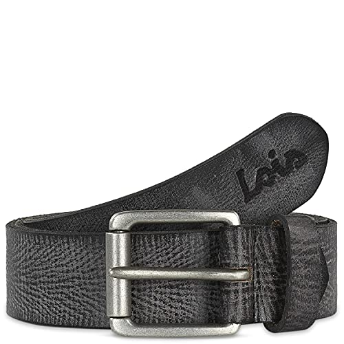 Lois - Cinturón de Piel Genuina Hombre. Hebilla metálica. Craquelado. Flexible y duradero. Ancho de 40 mm. Talla Ajustable 501004, Color Negro